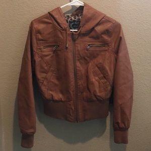 NWT Brown Faux Leather Cropped Jacket Size M
